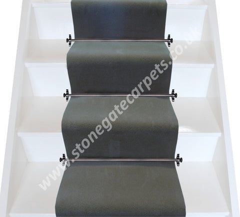 Brintons Carpets Majestic Polished Silver Plain Stair Runner (per M)