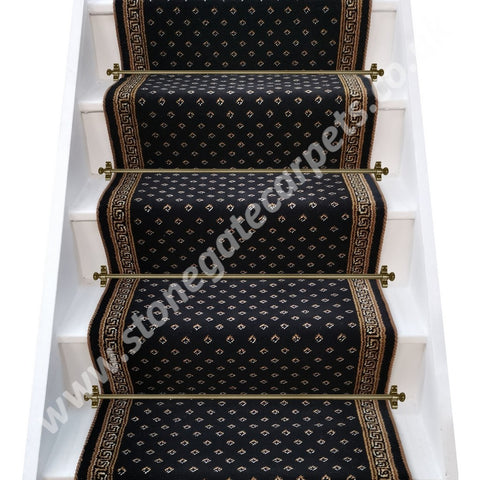 Brintons Carpets Marquis Intense Black Diamond & Athenia Black Border With March Brown Rope Stair Runner (per M)