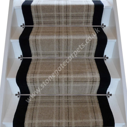 Brintons Carpets Pure Living Earth Plaid Ebony Stair Runner (per M)