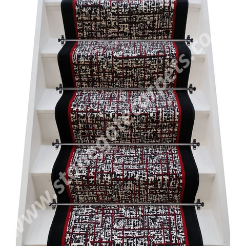 Brintons Carpets Quickweave Retro City, Chilli & True Velvet Jet  Stair Runner (per M)