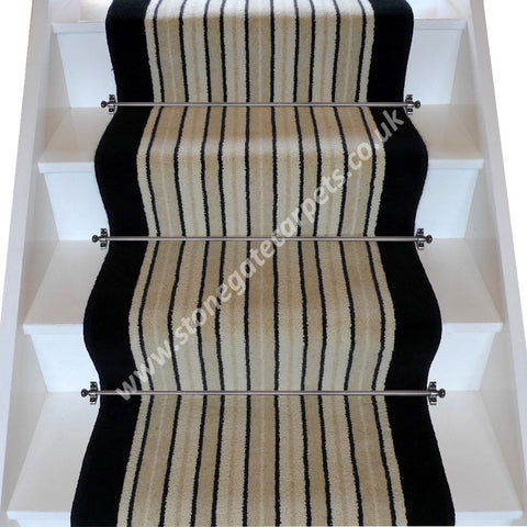 Brintons Carpets Stripes Collection Brighton Rock Ebony Stair Runner (per M)