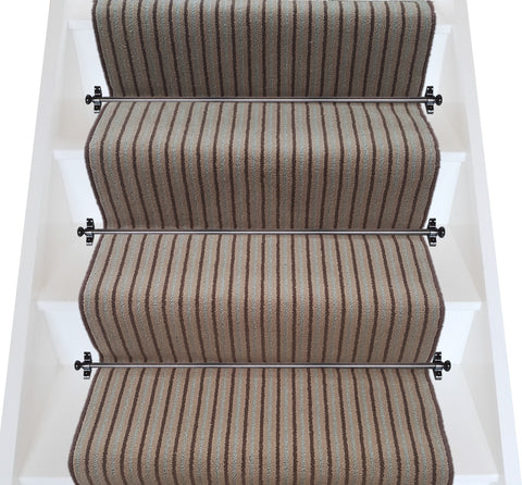 Brintons Carpets Stripes Collection Chocolate Bonbon Stair Runner (per M)