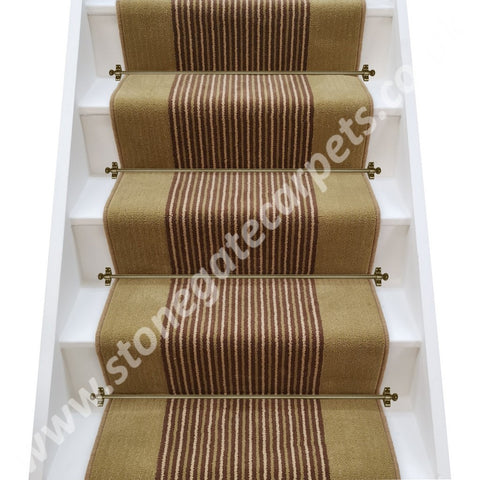 Brintons Stripes Collection Chocolate Limes & Gainsborough Strand Stair Runner (per M)
