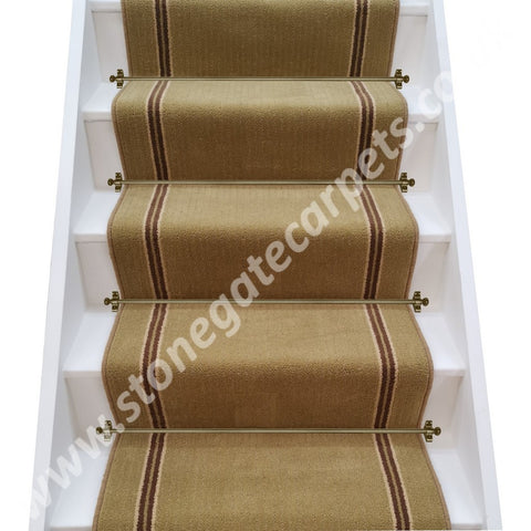 Brintons Stripes Collection Gainsborough Strand & Chocolate Limes Insert Stair Runner (per M)