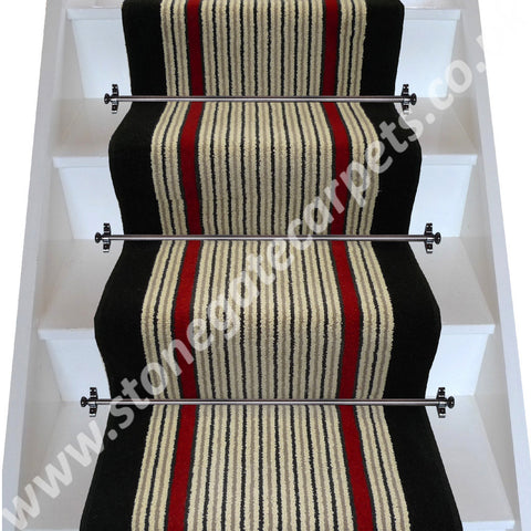 Brintons Carpets Stripes Collection Humbug Finepoint Rothko Red Ebony Stair Runner (per M)