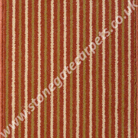 Brintons Carpets Stripes Collection Rhubarb Custard Carpet Remnant 1ST/38266