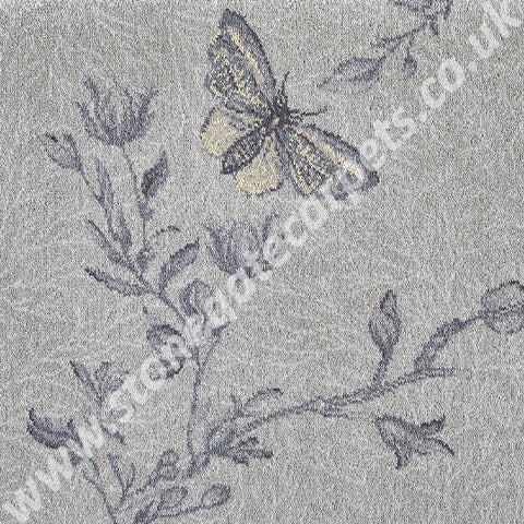 Brintons Carpets Timorous Beasties Silver Ruskin Butterfly Carpet Remnant 10/50156