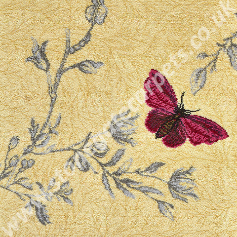 Brintons Carpets Timorous Beasties Yellow Ruskin Butterfly Carpet Remnant 6/50155