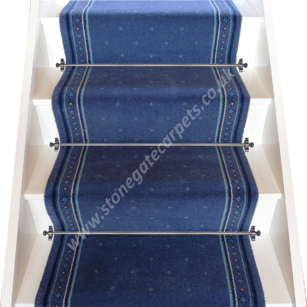 Superbe Stoddards Carpets 27 Inch Blue Stair Runner (per M)