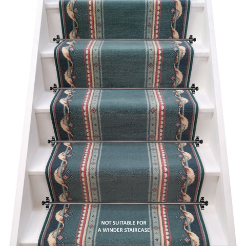 Stoddards Carpets Bermuda Turquoise Stair Runner - LIMITED STOCK (per M)
