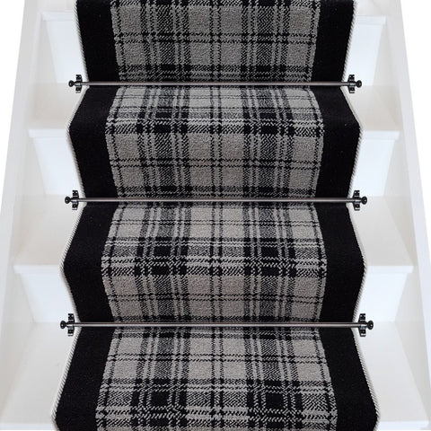 Ulster Carpets Glenmoy Douglas Plaid with True Velvet Jet & Wulf Grey Rope Stair Runner