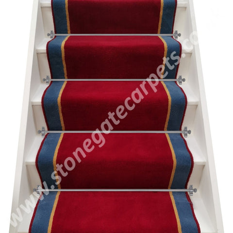 Ulster Carpets Ulster Burgundy Velvet, Honey Gold & Windsor Blue Stair Runner (please call for pricing)