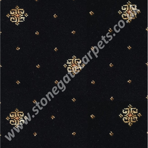 Ulster Carpets Athenia Motif Black 91/2707 (Please Call for per M² Cost)