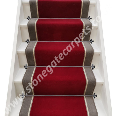 Ulster Carpets Ulster Burgundy Velvet, Humbug Insert & Ulster Velvet Elephant Stair Runner (call for pricing)