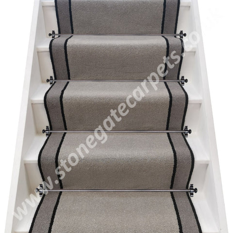 Ulster Carpets Grange Wilton French Grey, Ebony & Greyhound Stair Runner (per M)