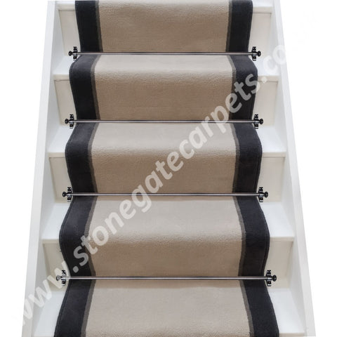 Ulster Carpets Ulster Velvet Chinchilla, Elephant & Charcoal Stair Runner (please call for pricing)