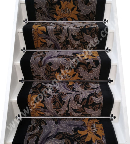 William Morris Inspired Axminster Carpets Rendezvous Florence & Jet Stair Runner (Per M)