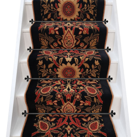 Arts & Crafts Inspired Axminster Carpets Rendezvous Seville & Jet Stair Runner