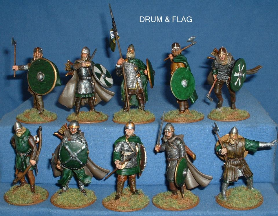 Del Prado Medieval Warriors 60mm - Converted as a LOTR Rohan warband. Front View.