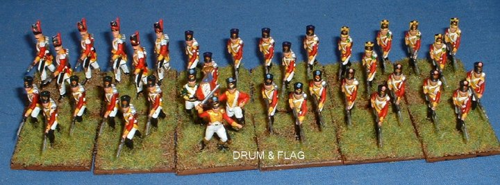 Italeri French Infantry painted as Napoleonic Swiss. 1/72 scale plastic figures