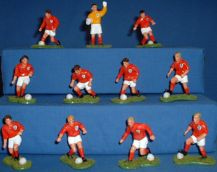 Toyway(?) - 1/32 scale Footballers painted as England 1966. Front View