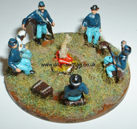 1/72 scale painted Union camp fire diorama / objective marker
