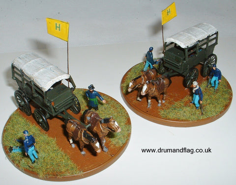 1/72 scale painted Imex Civil War Union Ambulances