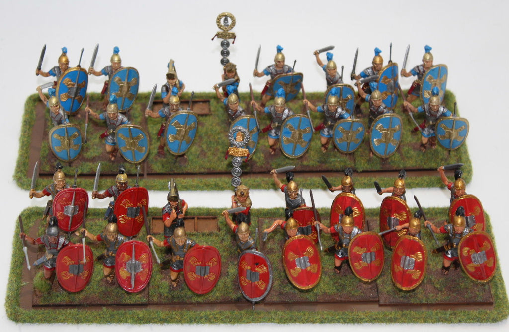 Italeri 54mm or 1/32 Scale Romans. Painted and on movement trays