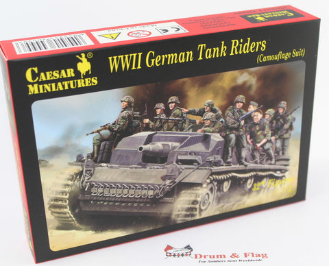 CAESAR Set #99. WWII GERMAN TANK RIDERS (Camouflage Suit) 1/72 Scale Plastic Figures