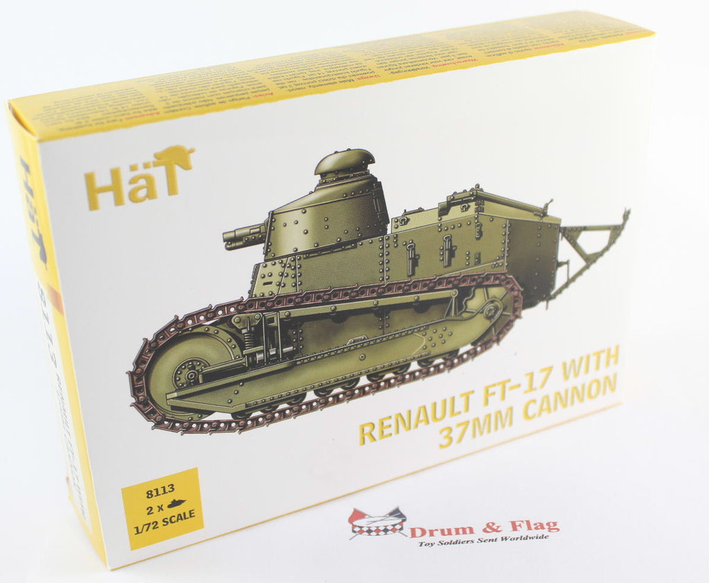 HAT 8113 RENAULT FT-17 with 37mm CANNON. WW1 TANK 1/72 SCALE. 2 TANKS