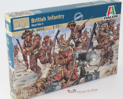 ITALERI 6056. WW2 BRITISH INFANTRY. 1:72 SCALE. Unpainted plastic.