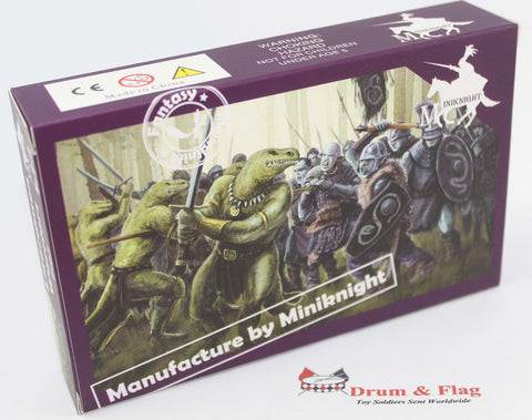 CAESAR / MINIKNIGHT #F107  LIZARDMEN WARRIORS - 1:72 SCALE PLASTIC FIGURES 11 POSES