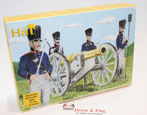 HAT 8007 NAPOLEONIC PRUSSIAN ARTILLERY 1/72 SCALE. 4 CANNONS 24 CREW 4 HORSES