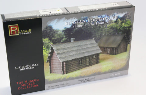 PEGASUS 7703. WW2 RUSSIAN LOG HOUSES. IZBA HOUSE X 2. 1:72 SCALE PLASTIC