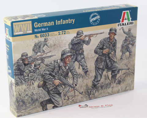 ITALERI 6033. WW2 GERMAN INFANTRY. 1:72 SCALE. Unpainted plastic.