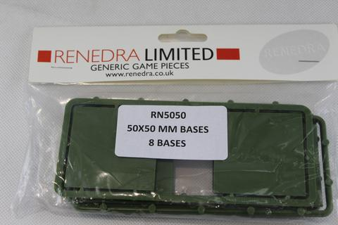 RENEDRA 50mm SQUARE PLASTIC BASES. WARGAMING. LOW PROFILE.
