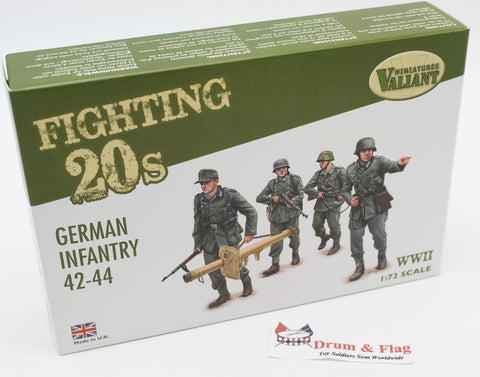 VALIANT MINIATURES FT001 WWII GERMAN INFANTRY 42-44 1:72 SCALE PLASTIC FIGURES