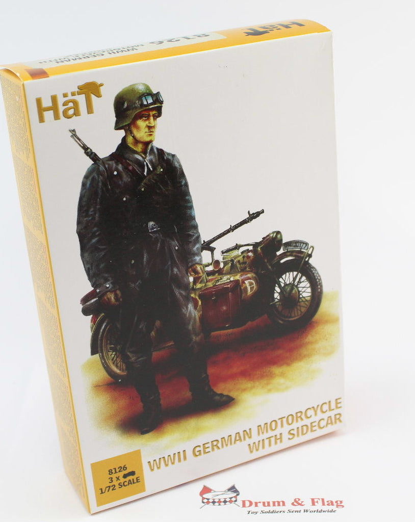 HAT 8126 WWII GERMAN MOTORCYCLE & SIDECAR - 1:72 SCALE