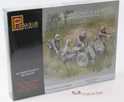 PEGASUS 7510. WWII GERMAN 75MM 1e IG18 INFANTRY GUN & CREW. 1/72 SCALE. WW2
