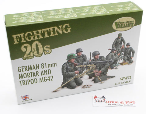 VALIANT MINIATURES FT002 WWII GERMAN 81mm MORTAR & TRIPOD MG42.  1:72 SCALE PLASTIC FIGURES