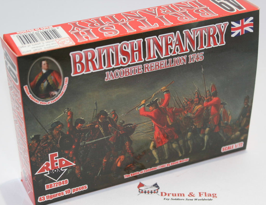 REDBOX 72049 BRITISH INFANTRY JACOBITE REBELLION 1745. 1/72 SCALE PLASTIC FIGS