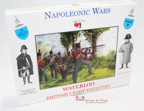 A CALL TO ARMS SET # 9 - WATERLOO BRITISH LIGHT INFANTRY. 1/32 SCALE. NAPOLEONIC