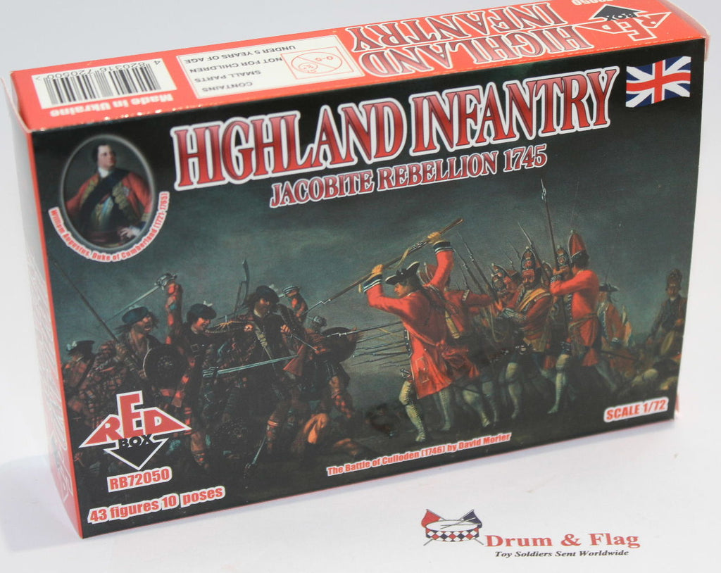 REDBOX 72050 HIGHLAND INFANTRY JACOBITE REBELLION 1745. 1/72 SCALE PLASTIC FIGS