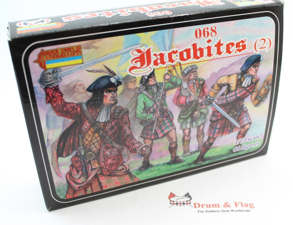 STRELETS 68 JACOBITES (2). 44 x 1/72 SCALE PLASTIC FIGURES.