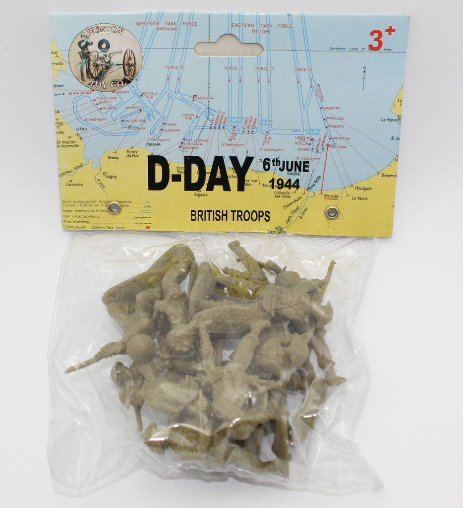 WESTON - WW2 BRITISH D-DAY INFANTRY X 12 FIGURES / 6 POSES. 1/32 SCALE KHAKI GREEN