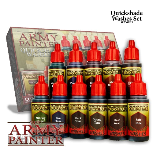 The ARMY PAINTER QUICK SHADE WASHES SET. 11 different washes included in box set.