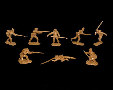 CTS - Confederate Infantry. American Civil War. 16 figures in 8 poses. 1/32 scale plastic. Butternut