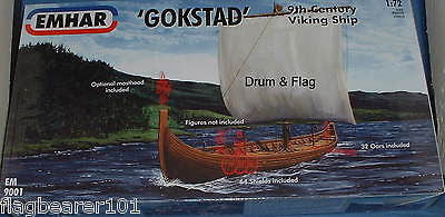 EMHAR 9001 GOKSTAD VIKING SHIP 9th Century - 1/72 SCALE PLASTIC KIT