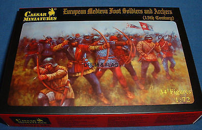 CAESAR #88 EUROPEAN MEDIEVAL FOOT SOLDIERS & ARCHERS. 1/72 Scale Plastic Figures