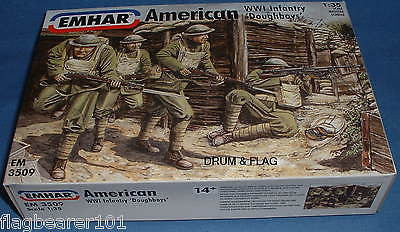 "EMHAR 3509 AMERICAN US WW1 INFANTRY ""DOUGHBOYS"" 12 x 1:35 Scale Plastic Figures."